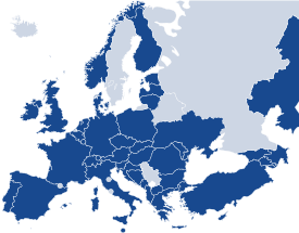 Map of the EHEA, governmental members of EQAR highlighted